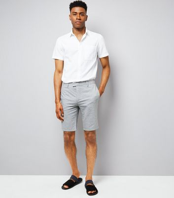 Grey Slim Leg Cotton Tailored Shorts