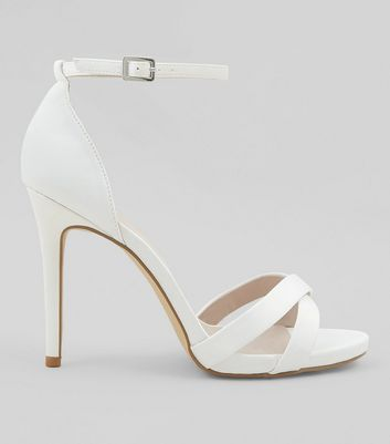 Wide Fit White Sateen Cross Strap Heeled Sandals