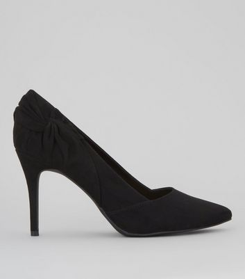Black Suedette Twist Side Pointed Heels