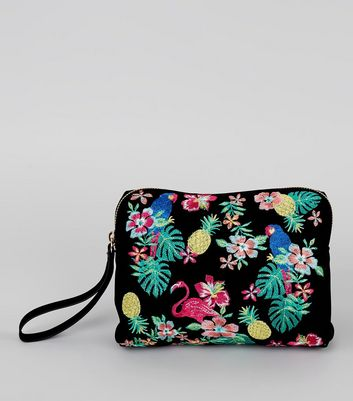 Black Suedette Floral Embroidered Pouch