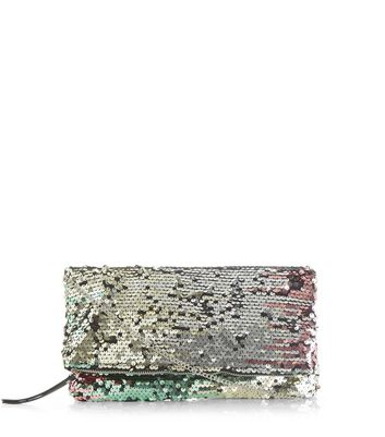 Green Sequin Foldover Clutch