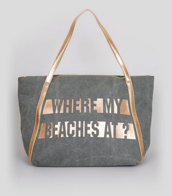 Grey Where My Beaches At Tote Bag