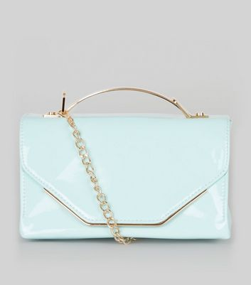 Mint Green Patent Metal Trim Cross Body Bag
