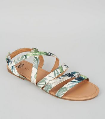 Teens Green Tropical Print Sandals