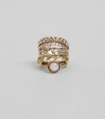 Gold Iridescent Ring Stack