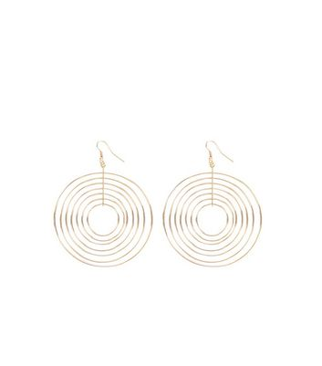 Gold Concentric Circles Drop Earrings