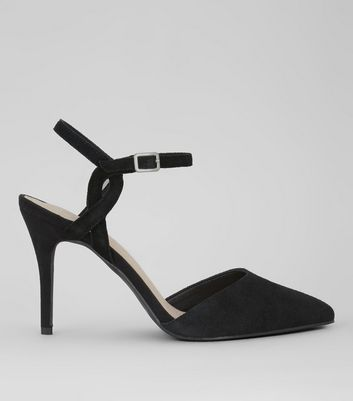 Black Comfort Suede Cross Strap Side Heels