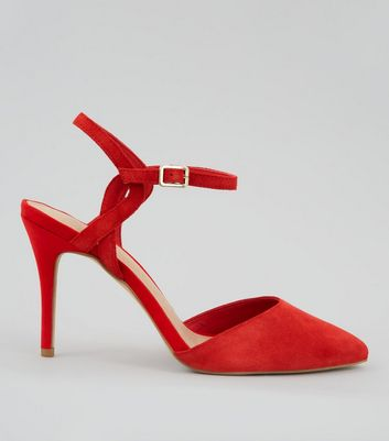 Red Comfort Suede Cross Strap Side Pointed Heels