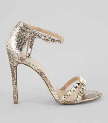 Gold Animal Print Studded Leather-Look Heels