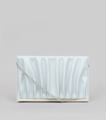 Pale Blue Gathered Clutch