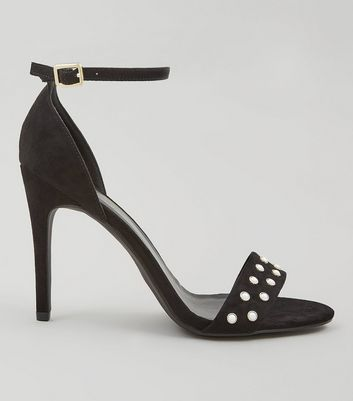 Black Suedette Pearl Stud Heeled Sandals