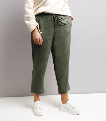 Curves Khaki Tie Waist Cropped Trousers