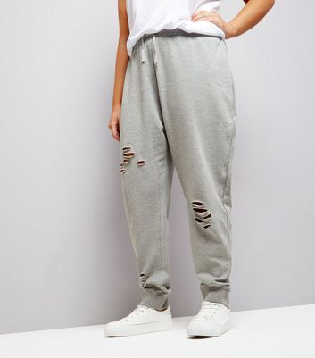 Curves Grey Ripped Jersey Joggers