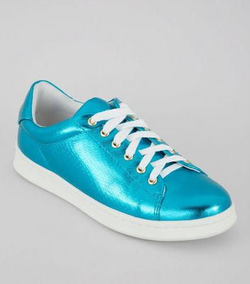 Teens Blue Metallic Lace Up Trainers