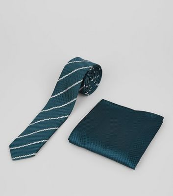 2 Pack Blue Stripe Tie and Pocket Square
