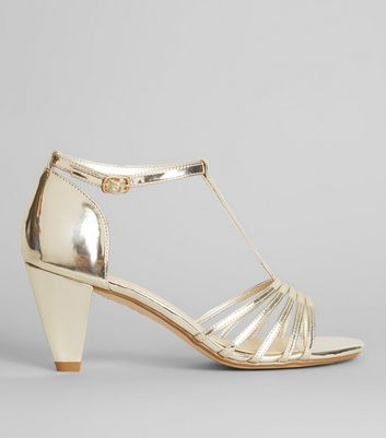 Teens Gold T-Bar Heels