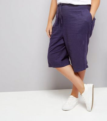 Curves Navy Linen Blend Shorts