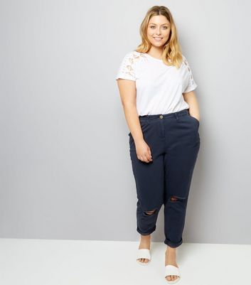 Curves Navy Ripped Knee Chinos