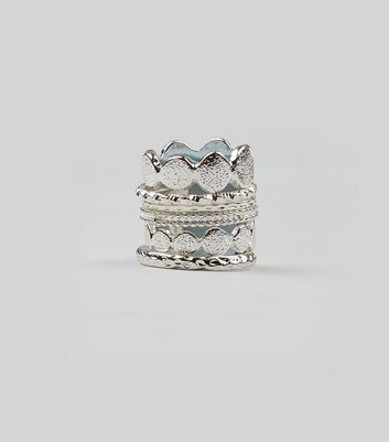 6 Pack Silver Textured Ring Stack