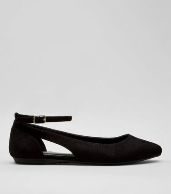 Teens Black Suedette Cut Out Side School Pumps