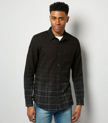 Navy Dip Dye Check Shirt
