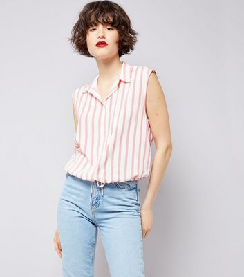 White Stripe Drawstring Hem Sleeveless Shirt