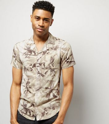 Cream Palm Print Short Sleeve Shirt