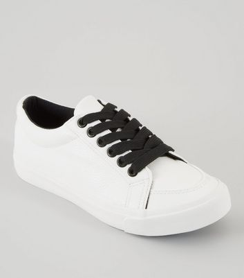 Teens White Contrast Lace Up Trainers