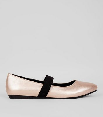 Teens Rose Gold Elastic Strap Pointed Flats