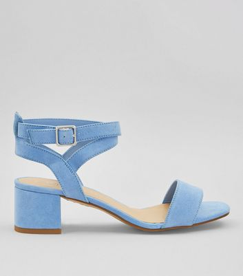 Teens Pale Blue Suedette Low Block Heels
