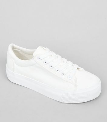 Teens White Flatform Trainers