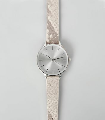 Grey Snakeskin Textured Strap Watch