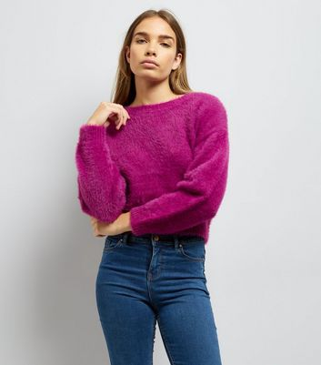 Purple Fluffy Cropped Jumper