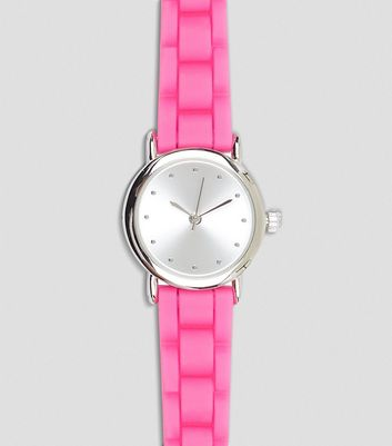 Pink Silicone Strap Watch