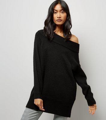 Black Bardot Neck Longline Jumper