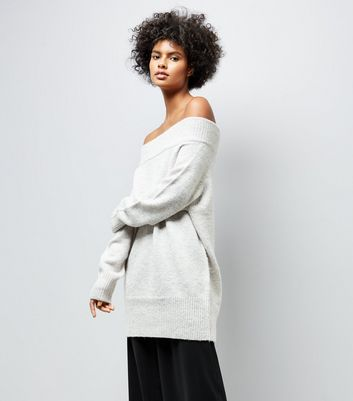 Pale Grey Bardot Neck Longline Jumper