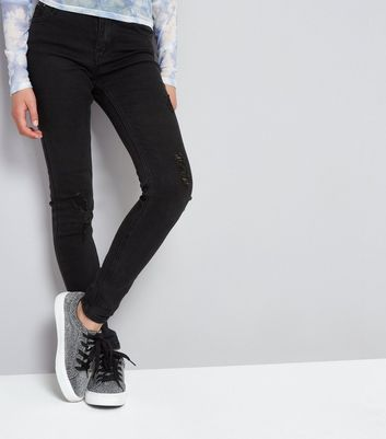 Teens Black Studded Waistband Skinny Jeans