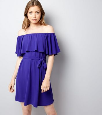 Purple Frill Layered Bardot Neck Dress