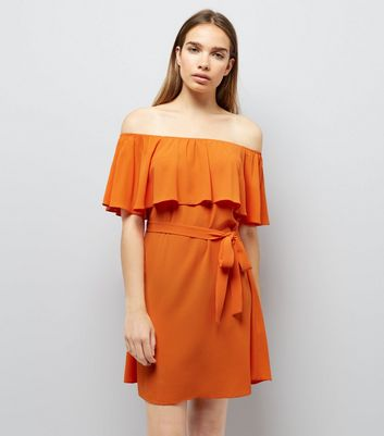 Orange Frill Layered Bardot Neck Dress