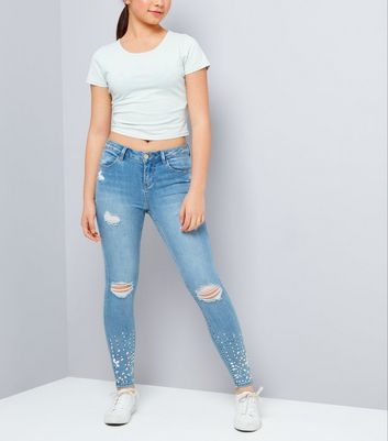 Teens Blue Ripped Jewelled Hem Skinny Jeans