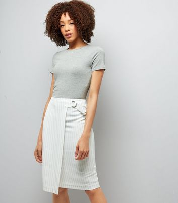White Pinstripe Wrap Front Midi Pencil Skirt