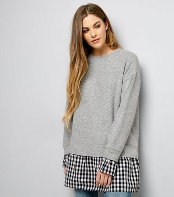 Mid Grey 2 in 1 Gingham Check Print Panel Jumper Dress