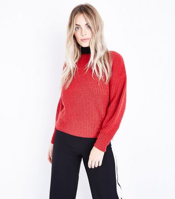 Petite Red Balloon Sleeve Jumper