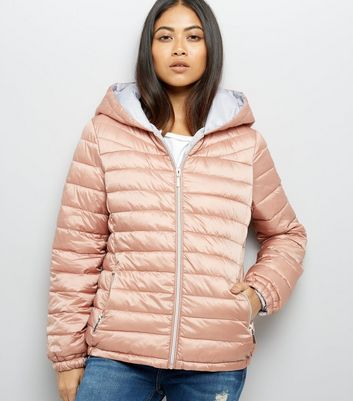 Petite Pink Padded Hooded Coat