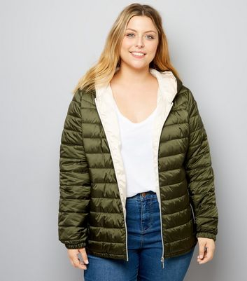 Curves Khaki Lightweight Puffer Jacket