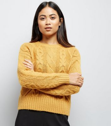 Petite Yellow Cable Knit Crew Neck Jumper