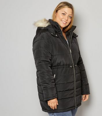 Curves Black Faux-Fur Trim Puffer Jacket