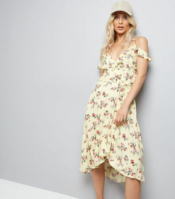 Yellow Ditsy Floral Print Wrap Front Dress