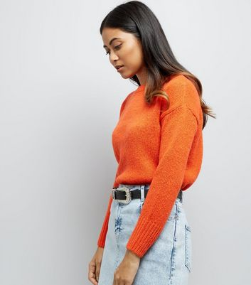Petite Orange Dropped Shoulder Longline Jumper