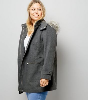 Curves Grey Faux Fur Trim Hooded Duffle Coat